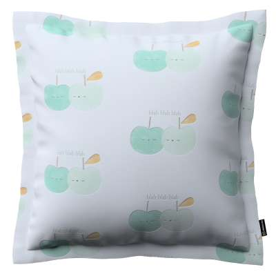 Mona cushion cover with border 151-02 light green apples on white background Collection Little World