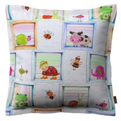 Poszewka Mona na poduszkę 151-04 kolorowe obrazki zwierzątek na szarym tle Kolekcja Little World