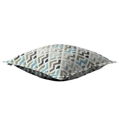 Poszewka Mona na poduszkę 141-93 wzór geometryczny w odcieniach pastelowego błękitu i beżu na jasnym tle  Kolekcja Modern