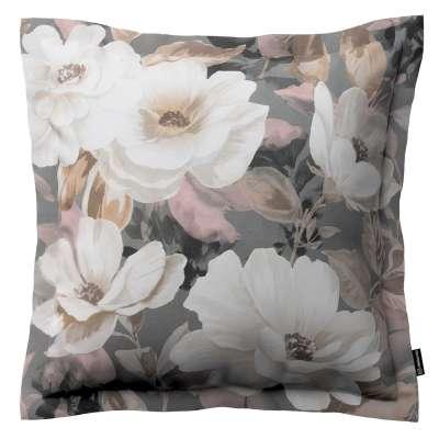 Poszewka Mona na poduszkę 142-13 kremowe i różowe kwiaty na szarym tle  Kolekcja Gardenia
