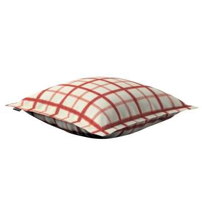 Poszewka Mona na poduszkę 131-15 ecru tło, czerwona kratka Kolekcja Avinon