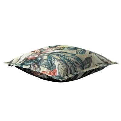 Poszewka Mona na poduszkę 143-08 liście w odcieniach zieleni, niebieskiego, czerwieni na beżowym tle Kolekcja Abigail