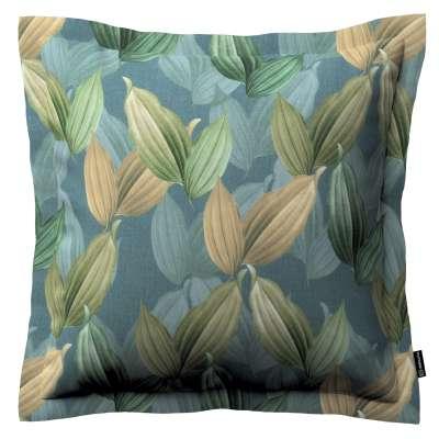 Poszewka Mona na poduszkę 143-20 zielone, beżowe liście na niebiesko-zielonym tle Kolekcja Abigail