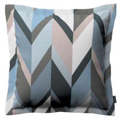 Mona - potah na polštář hladký lem po obvodu 143-54 geometrický vzor  modrá béžová Kolekce Vintage 70's