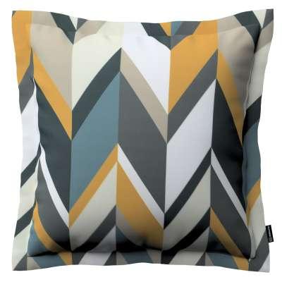 Mona - potah na polštář hladký lem po obvodu 143-56 geometrický vzor  žlutá modrá béžová Kolekce Vintage 70's