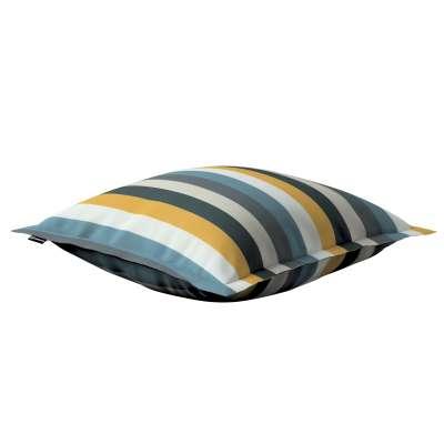 Mona - potah na polštář hladký lem po obvodu 143-59 pruhy modrá šedá žlůutá Kolekce Vintage 70's