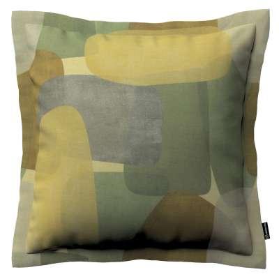 Poszewka Mona na poduszkę 143-72 geometryczne wzory w zielono-brązowej kolorystyce Kolekcja Vintage 70's
