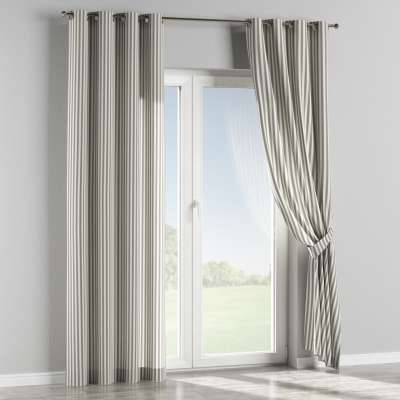 Eyelet curtain 136-12 graphite and white stripes (1.5cm) Collection Quadro