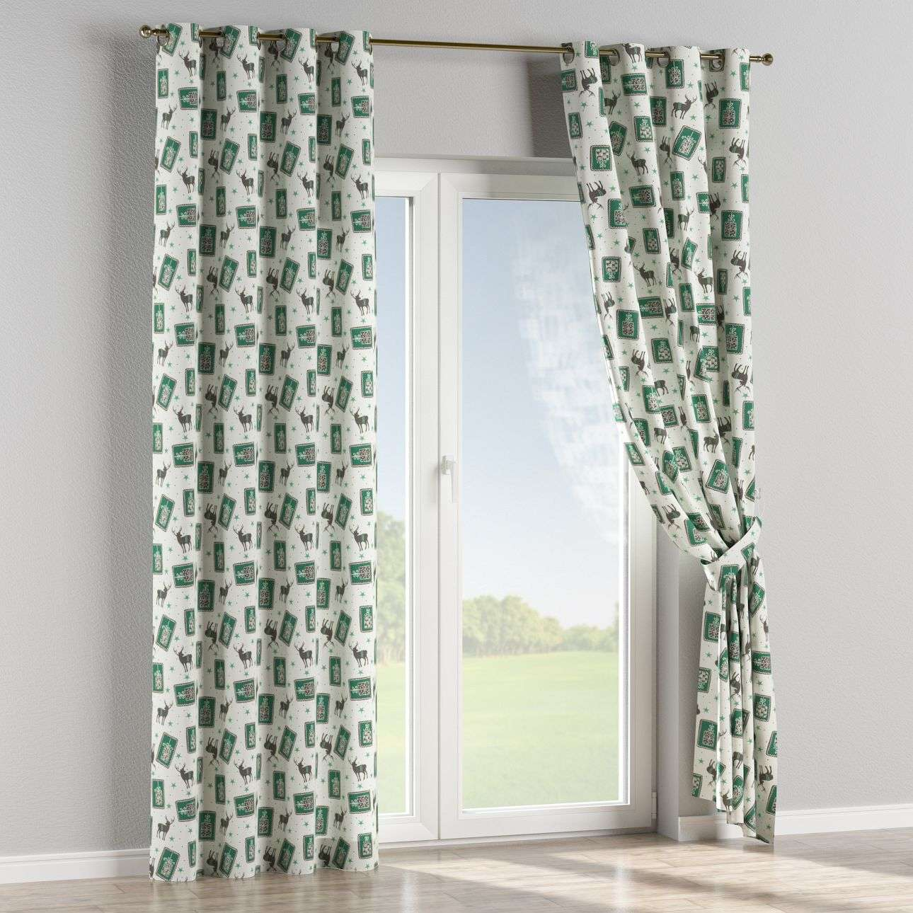 Eyelet curtains 130 x 260 cm (51 x 102 inch) in collection Christmas , fabric: 630-13