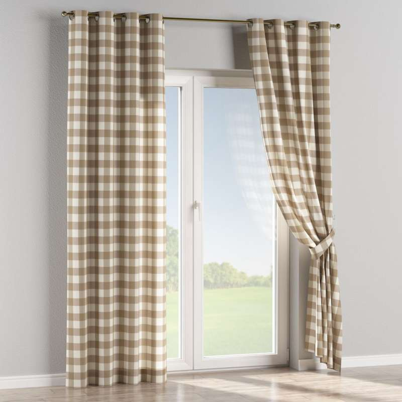 Eyelet curtain in collection Quadro, fabric: 136-08