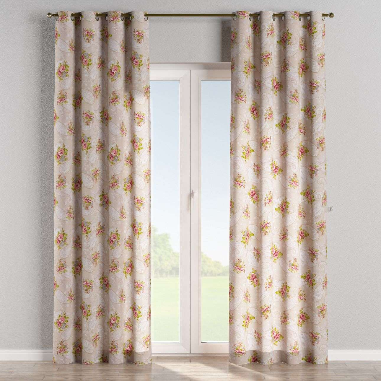 Eyelet curtains 130 x 260 cm (51 x 102 inch) in collection Flowers, fabric: 311-15