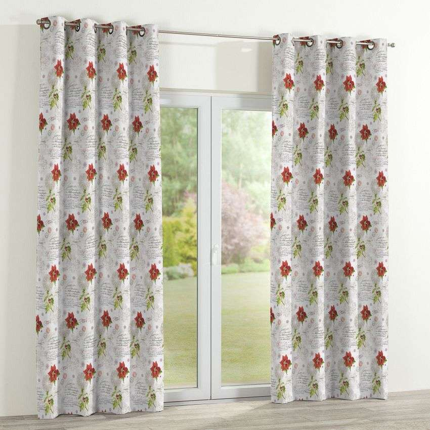 Eyelet curtains 130 x 260 cm (51 x 102 inch) in collection Christmas , fabric: 629-24