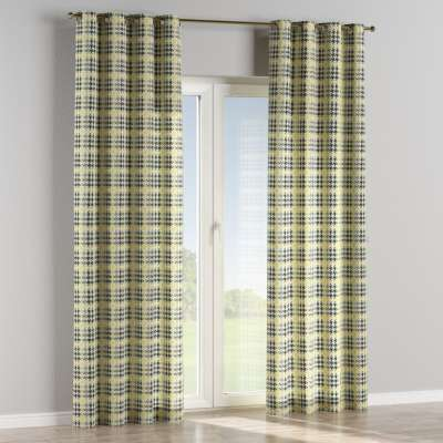Eyelet curtain 137-79 yellow and black houndstooth Collection SALE