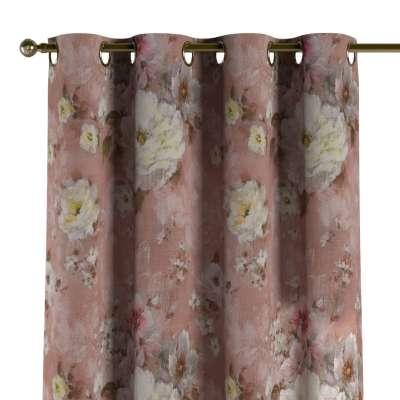 Záves s kolieskami 137-83 krémove a ružové kvety na tmavo ružovom podklade Kolekcia Flowers