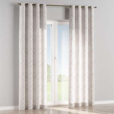 Eyelet curtain 140-51 glossy botanical pattern on grey background Collection Venice