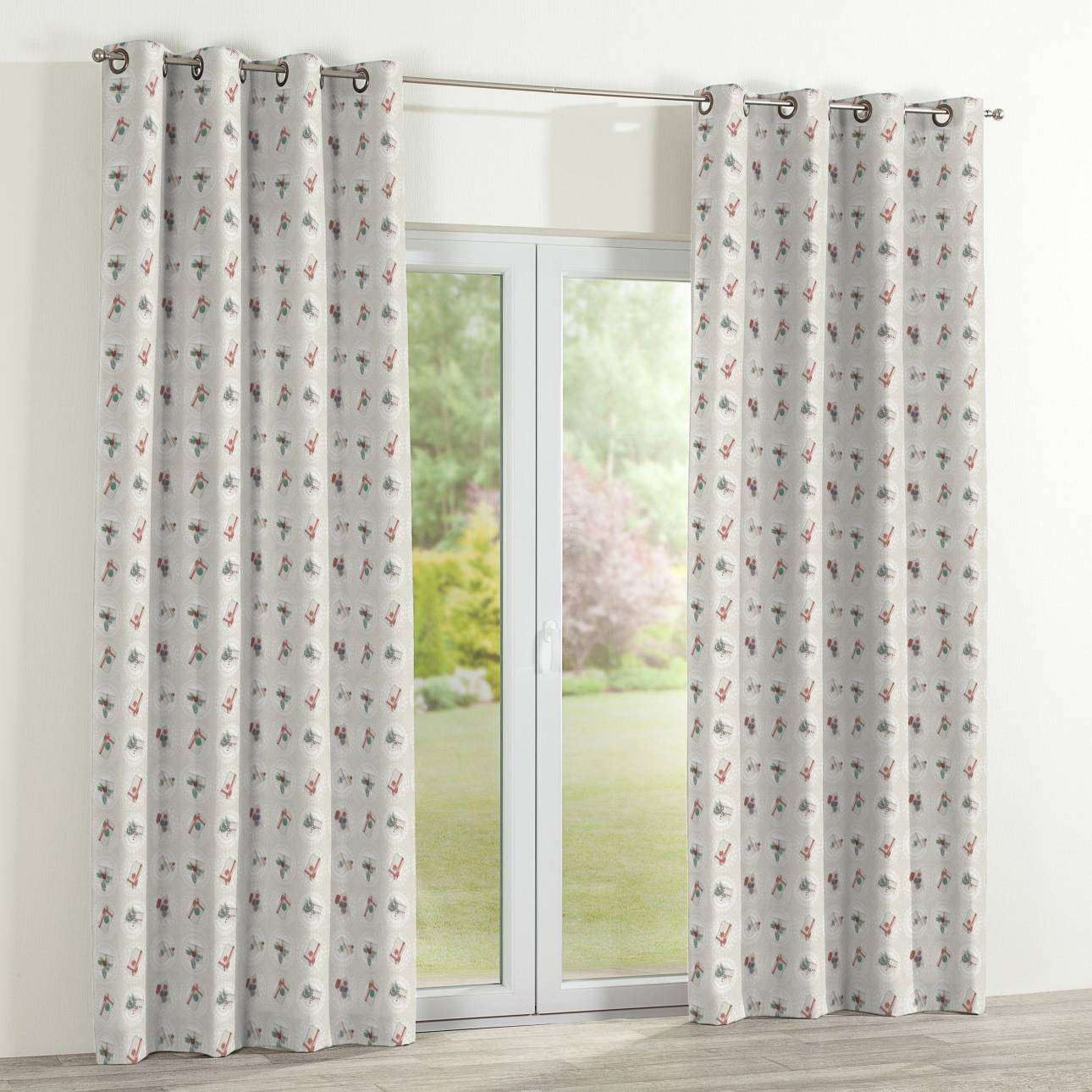 Eyelet curtains 130 x 260 cm (51 x 102 inch) in collection Christmas , fabric: 629-30