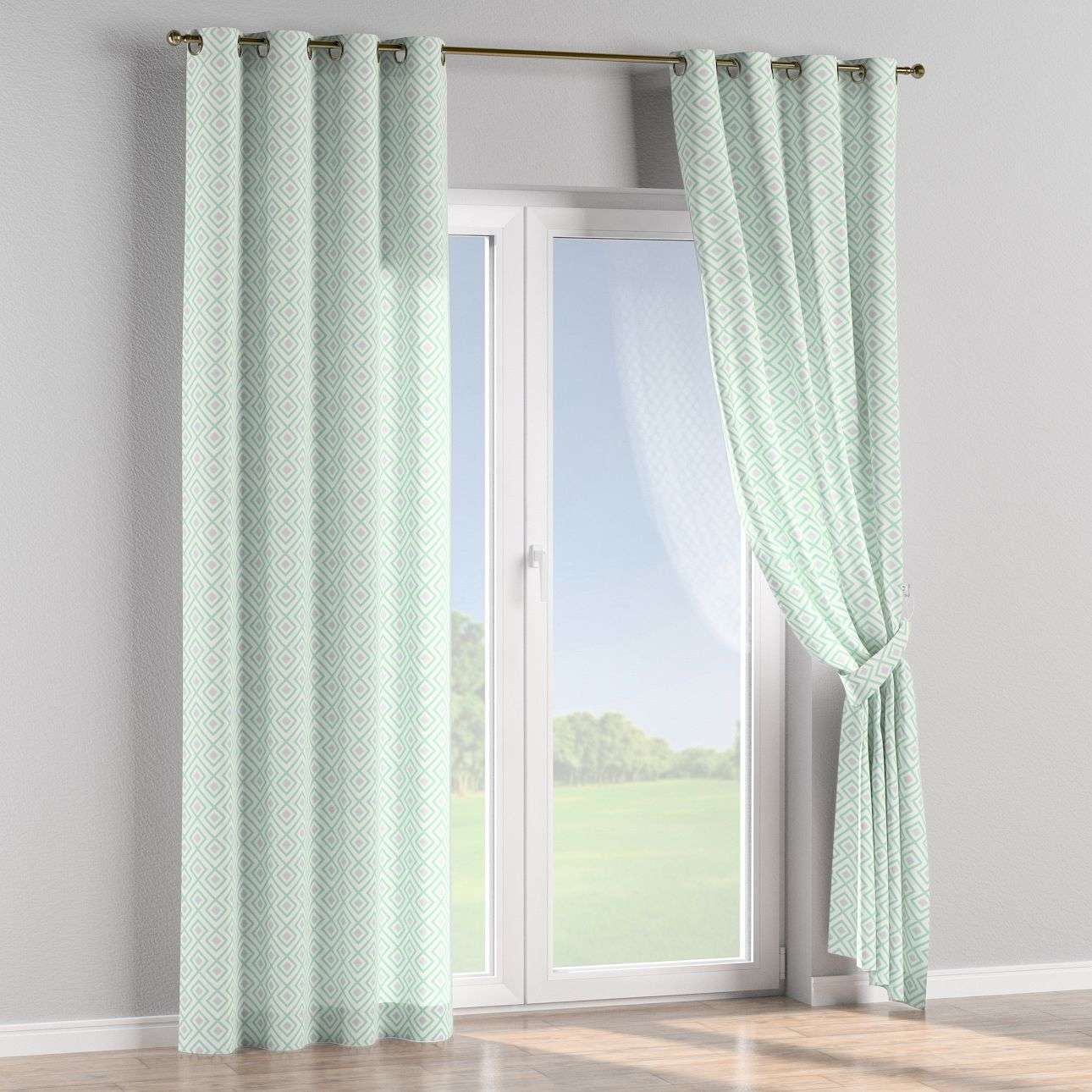 Eyelet curtains 130 x 260 cm (51 x 102 inch) in collection Geometric, fabric: 141-45