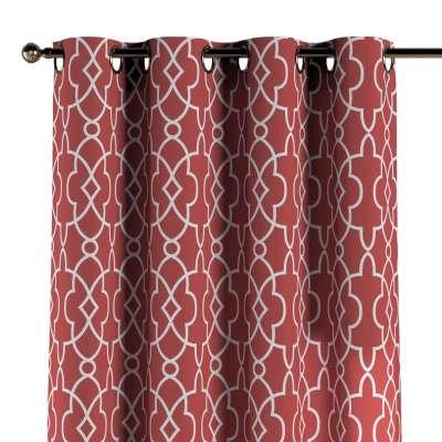 Zasłona na kółkach 1 szt. 142-21 czerwony w biały marokański wzór Kolekcja Gardenia