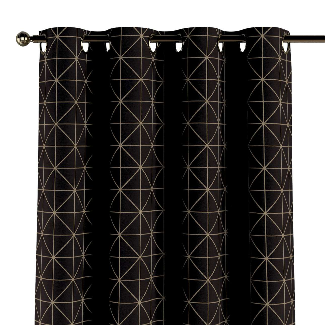 Eyelet curtains in collection Black & White, fabric: 142-55