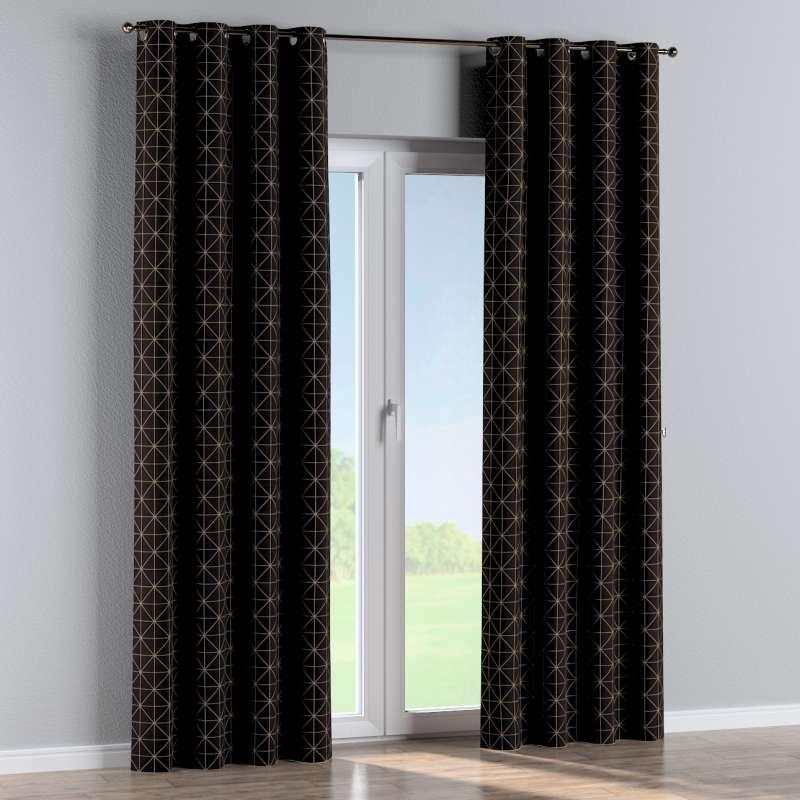 Gardin med öljetter 1 längd i kollektionen Black & White, Tyg: 142-55