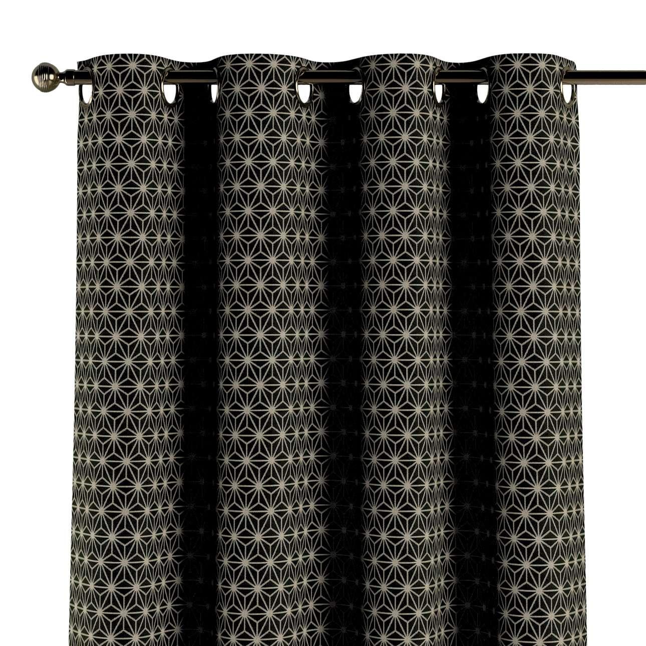 Závěs na kroužcích v kolekci Black & White, látka: 142-56