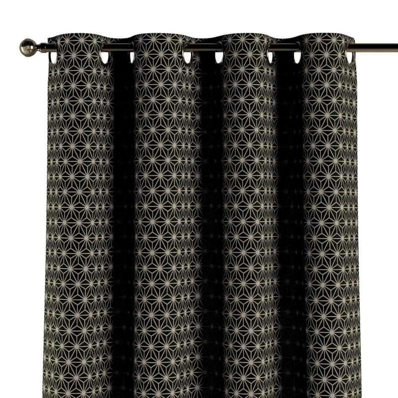 Gordijn met ringen van de collectie Black & White, Stof: 142-56