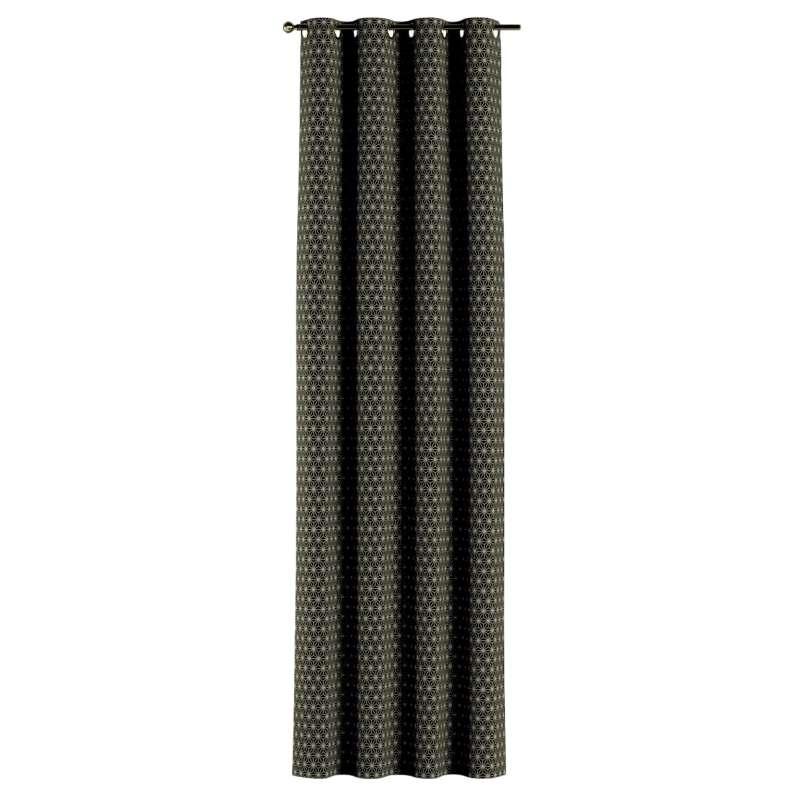 Gardin med öljetter 1 längd i kollektionen Black & White, Tyg: 142-56
