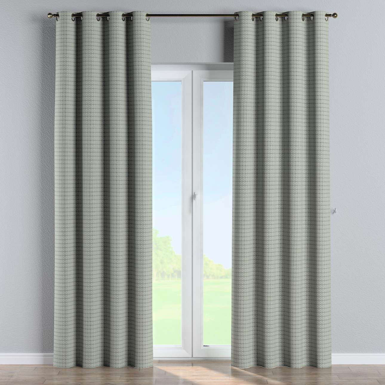 Eyelet curtains in collection Black & White, fabric: 142-76