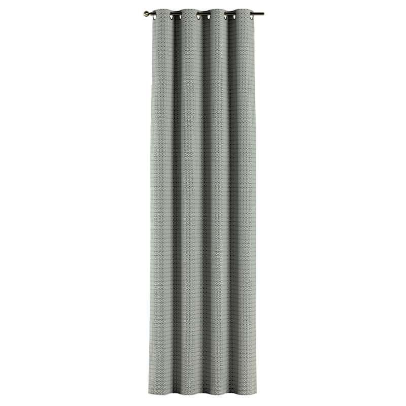 Gardin med öljetter 1 längd i kollektionen Black & White, Tyg: 142-76