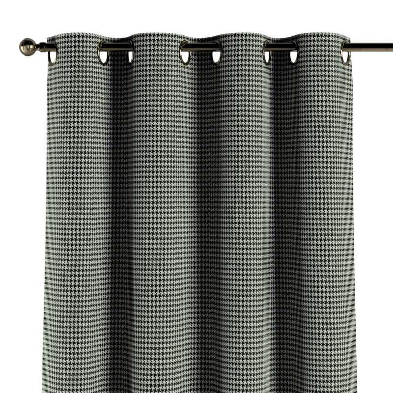 Gardin med öljetter 1 längd i kollektionen Black & White, Tyg: 142-77