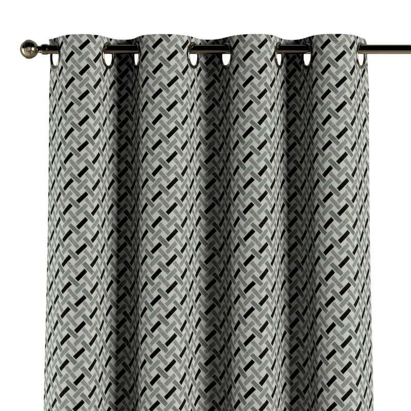 Gardin med öljetter 1 längd i kollektionen Black & White, Tyg: 142-78