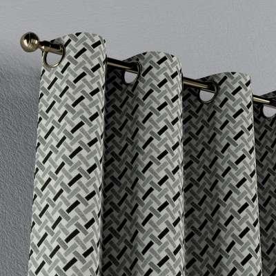 Gordijn met ringen van de collectie Black & White, Stof: 142-78