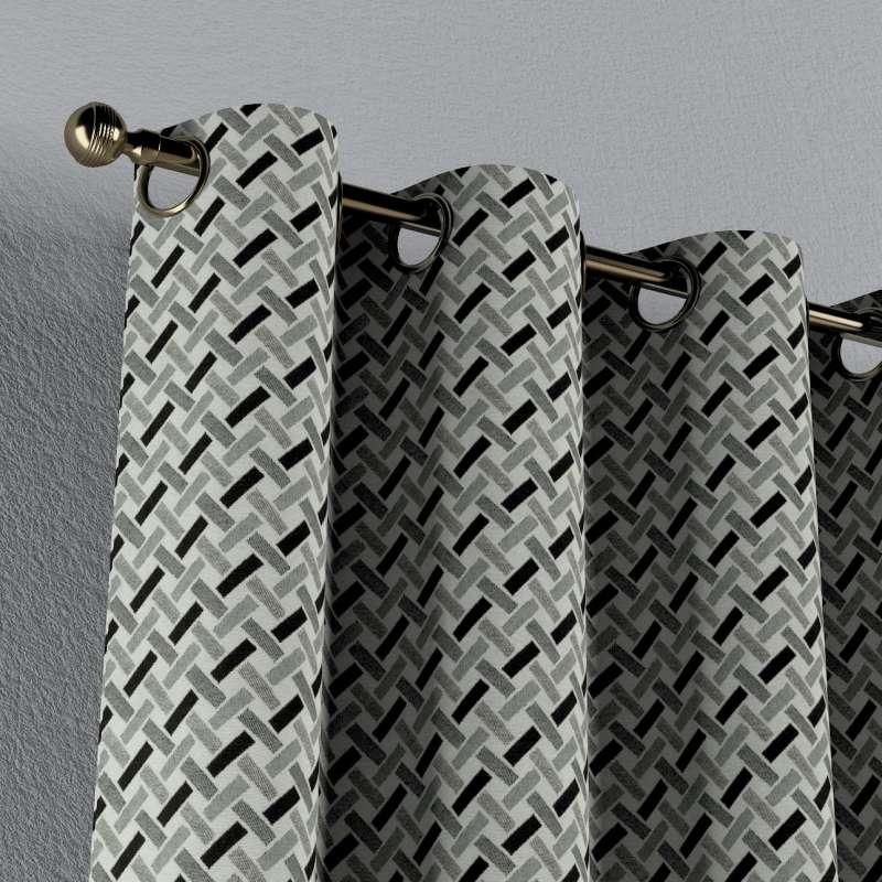 Závěs na kroužcích v kolekci Black & White, látka: 142-78