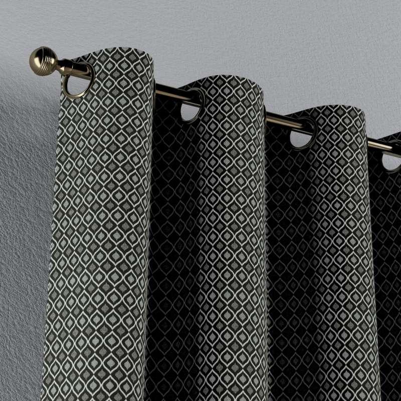 Gardin med öljetter 1 längd i kollektionen Black & White, Tyg: 142-86