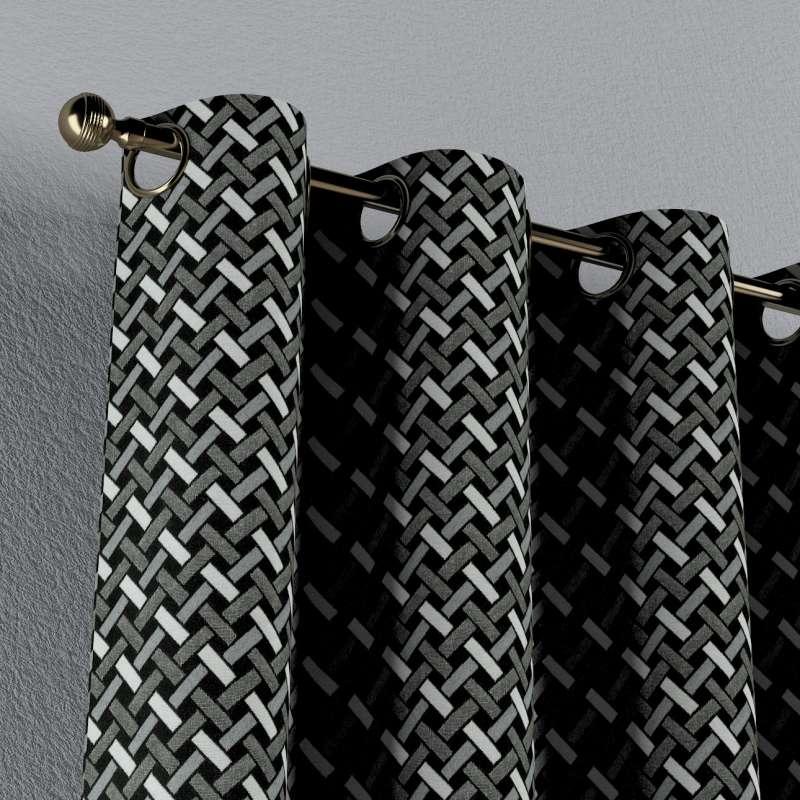 Závěs na kroužcích v kolekci Black & White, látka: 142-87