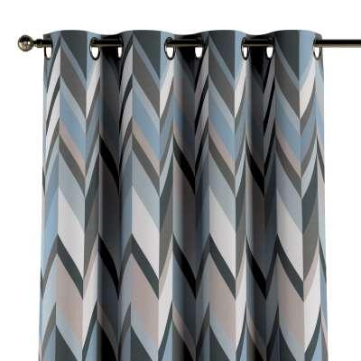 Závěs na kroužcích 143-54 geometrický vzor  modrá béžová Kolekce Vintage 70's