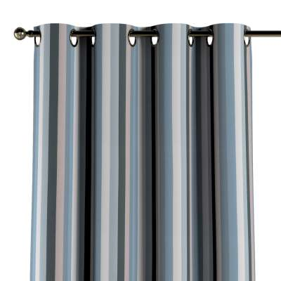 Eyelet curtain 143-57 stripes in blue colors  Collection Vintage 70's