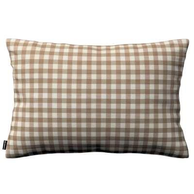 Poszewka Kinga na poduszkę prostokątną 136-06 beżowo biała kratka (1,5x1,5cm) Kolekcja Quadro