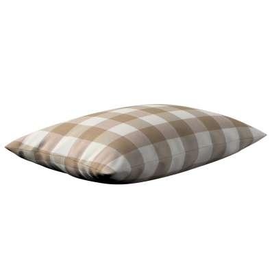 Poszewka Kinga na poduszkę prostokątną 136-08 beżowo biała krata (5,5x5,5cm) Kolekcja Quadro