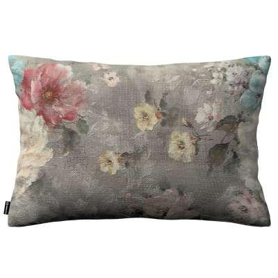 Poszewka Kinga na poduszkę prostokątną 137-81 niebieskie i różowe kwiaty na szarym tle Kolekcja Flowers