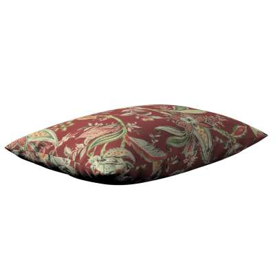 Poszewka Kinga na poduszkę prostokątną 142-12 wzory roślinne i kwiatowe na czerwono-ceglanym tle Kolekcja Gardenia