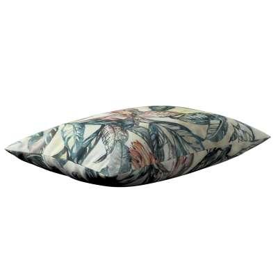 Poszewka Kinga na poduszkę prostokątną 143-08 liście w odcieniach zieleni, niebieskiego, czerwieni na beżowym tle Kolekcja Abigail