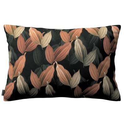 Kinga dekoratyvinės pagalvėlės užvalkalas 60x40cm 143-21 persiko rudi lapai juodame fone Kolekcija Abigail