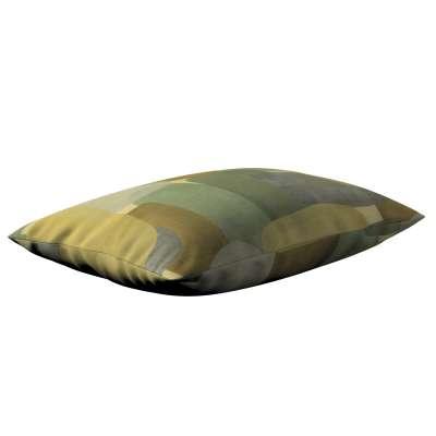Poszewka Kinga na poduszkę prostokątną 143-72 geometryczne wzory w zielono-brązowej kolorystyce Kolekcja Vintage 70's