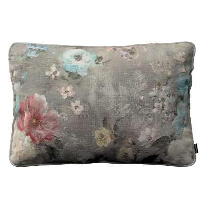 Poszewka Gabi na poduszkę prostokątna 137-81 niebieskie i różowe kwiaty na szarym tle Kolekcja Flowers