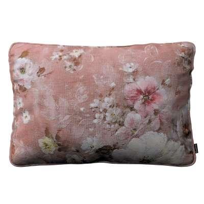 Gabika so šnúrkou, obliečka 60x40cm 137-83 krémove a ružové kvety na tmavo ružovom podklade Kolekcia Flowers
