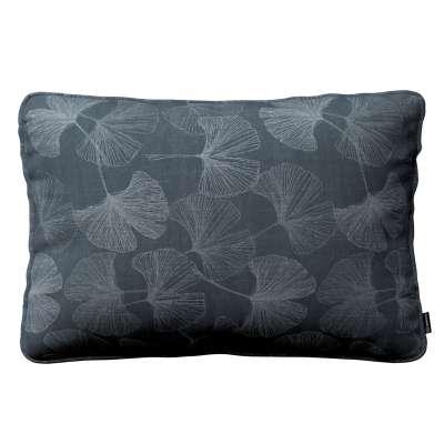 Poszewka Gabi na poduszkę prostokątna 143-52 szaro-srebrne liście miłorzębu na grafitowym tle Kolekcja Venice
