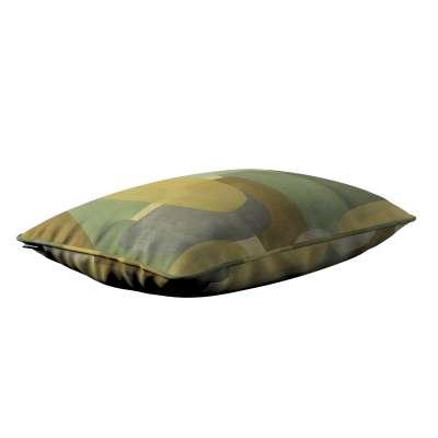 Poszewka Gabi na poduszkę prostokątna 143-72 geometryczne wzory w zielono-brązowej kolorystyce Kolekcja Vintage 70's