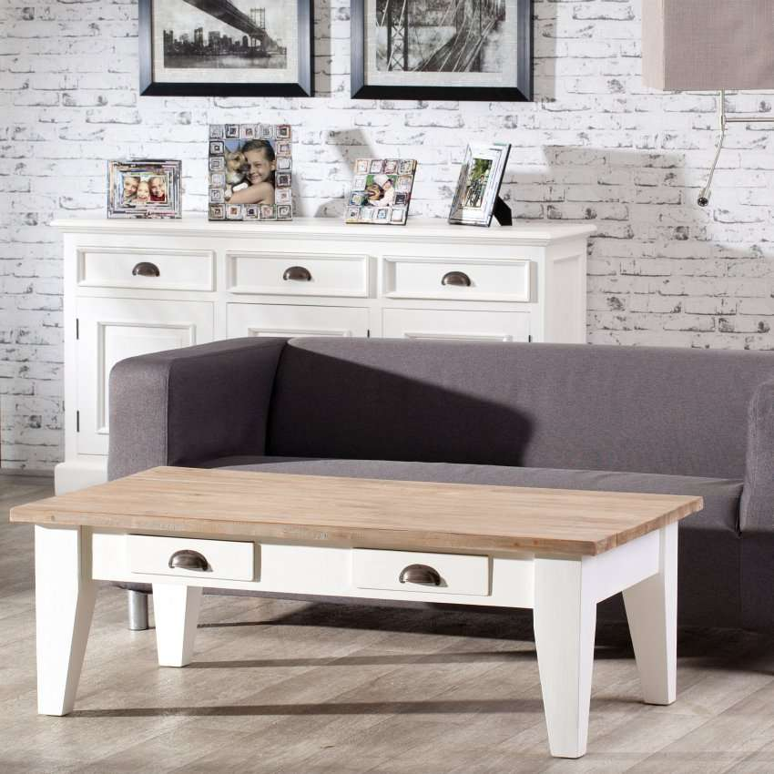 Couchtisch Milton white&natural 130x75x45cm 130x75x45cm