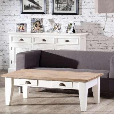 STALAS MILTON, WHITE&NATURAL, 130X75X45CM Angliško stiliaus baldai - Dekoria.lt
